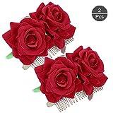 OOTSR 2 pièces Pince À Cheveux Fleur Rose, Épingle À Cheveux Rose Rouge pour Femmes Filles Accessoires De Cheveux De Mariage