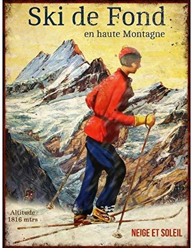 Antic Line Plaque «Ski de Fond en Haute Montagne »25 * 33 cm