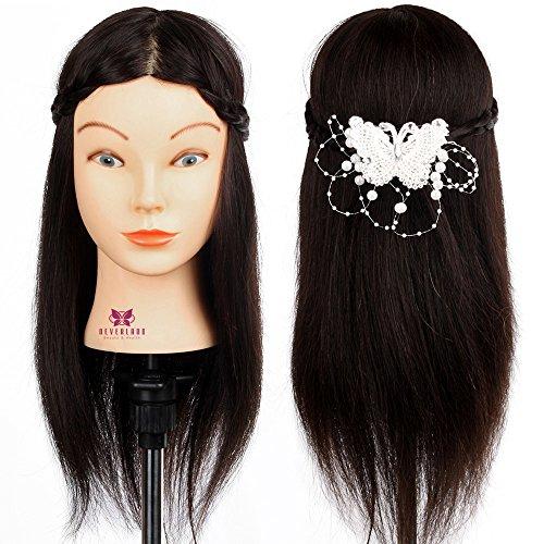 Neverland 16 Pouce Professionnel Tête d'exercice 100 cheveux humains Tête à coiffer professionnelle Cosmétologie Mannequin Head 40cm noir