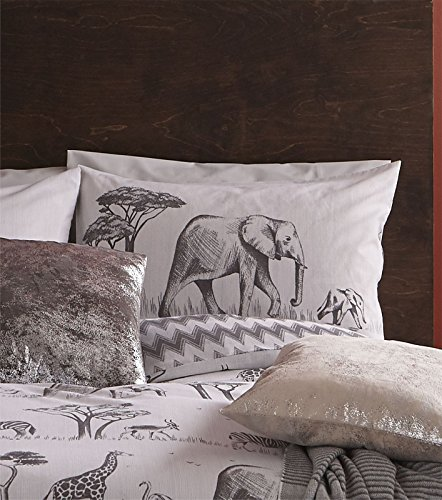 Catherine Lansfield Safari Easy Care Single Duvet Set Grey
