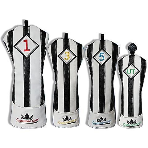 Artesano Golf negro con blanco rayas serie para cabeza de palo de golf driver madera Ut híbrida funda, 4pcs (#1,#3,#5,UT Cover)
