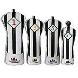 Craftsman Golf schwarz mit weißen Streifen Serie Golf Club Driver Holz UT Hybrid Head Cover Schlägerhaube, 4pcs (#1,#3,#5,UT Cover)