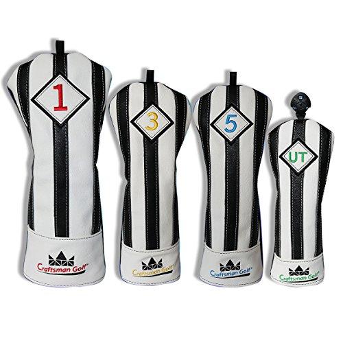 Craftsman Golf schwarz mit weißen Streifen Serie Golf Club Driver Holz UT Hybrid Head Cover Schlägerhaube, 4pcs (#1,#3,#5,UT Cover) (Hybrid-club Serie)