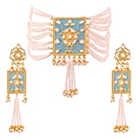 I Jewels Gold Plated Traditional Padmavati Pearl & Kundan Necklace with Earrings For Women (ML118SB)