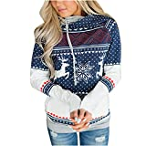 Tomwell Damen Weihnachten Hoodie Schnee Kapuzenpullover Weihnachten Langarm Kapuzenshirt Lässig Sweatshirt Pullover Bluse Blau DE 38