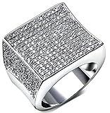 Aienid Frauen Ring Vergoldet Weiß Gold Seal Schneiden Luxus Zirkonia Größe 54 (17.2)