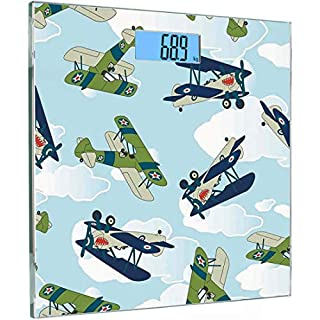 Ultra Slim High Precision Sensors Digital Body Weighing Weight Scale Airplane Decor Tempered Glass Bathroom Scales,Vintage Allied Plane Flying Pattern Cartoon Children Kids Repeating Toys Shark Teeth