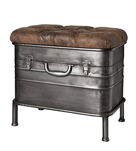 Haku-Möbel 13811 Bank Stahl anthrazit-braun 51 x 34 x 48