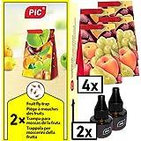 PIC - fruitvliegenval, Azijnvliegenval - 2 lokstofcontainers met 4 lijmvallen met extra lange werking - middel om fruitvliegen te bestrijden - geschikt voor in de keuken