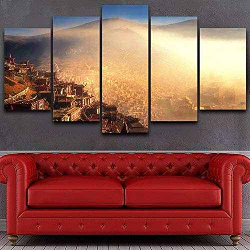 mmwin Wohnzimmer HD Gedruckt Wandkunst Bilder 5 Panel Buddhismus Stadt Nebel Sonnenaufgang Landschaft Moderne Wohnkultur Poster