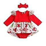 Riou Weihnachten Set Baby Kleidung Pullover Pyjama Outfits Set Familie Neugeborenes Baby Mädchen Weihnachten Spitze Strampler Body Tutu Kleid Outfits Kleidung Set (100, Rot)