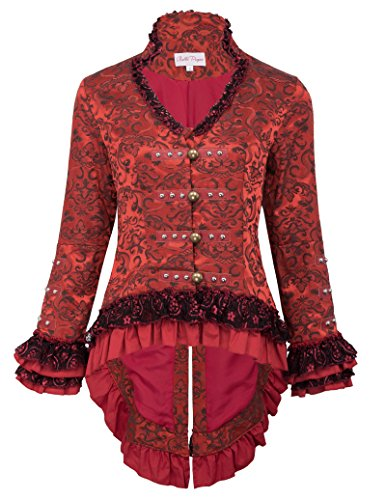 Frauen Vintage Mantel Jacke Kostüm Party Jacket Frack Schnürung XL BP223-1