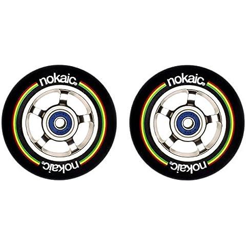 Pack de dos ruedas NOKAIC para patinetes scooters de 100mm aluminio goma negra