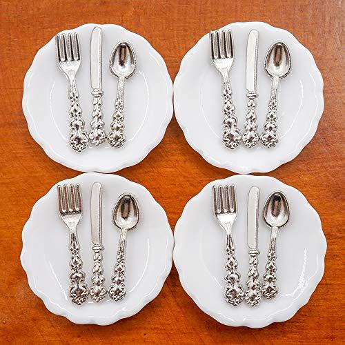Odoria 1/12 Miniatura 4pz Platos y 12pz Cubiertos Cocina Accesorio para Casa...