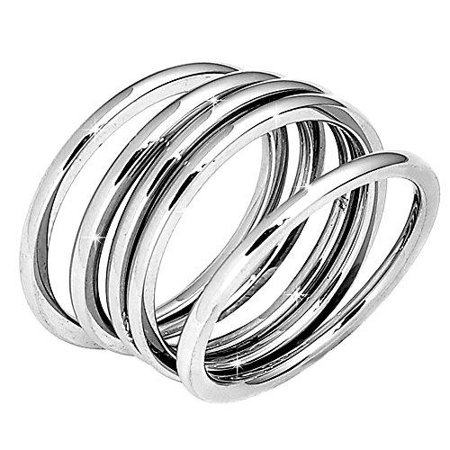Beloved ❤️ set 5 anelli da donna, fede, fedina in acciaio inossidabile colore bianco indossabili insieme o separatamente, anello donna