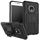 Moto G5 Plus Custodia , Anzhao Duro Shock Proof copertura Rugged Heavy Duty Antiurto in Piedi Custodia caso Case per Moto G5 Plus (Nero)