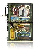 FX Vintage cuero de la secuencia Retro Cuaderno Diario Notebook PU Cubierta Hojas Sueltas Libreta y De Viaje Cuaderno (Green-stamp)