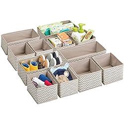 mDesign boîte de rangement respirable pour chambre d'enfants - panier de rangement pour couches, accessoires bébé et médicaments - lot de 12 - bac de rangement pratique - couleur : taupe/nature