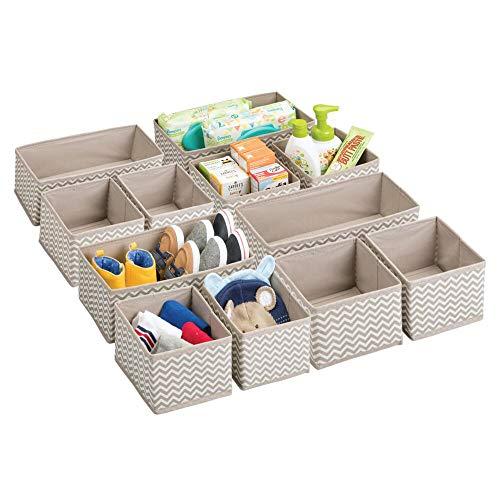 mDesign Aufbewahrungsboxen aus Stoff im 12er Set - Stoffbox in zwei Größen für Wäsche, Windeln, Tücher, Accessoires etc. - flexible Aufbewahrungskiste für den Schrank oder Schublade - taupe