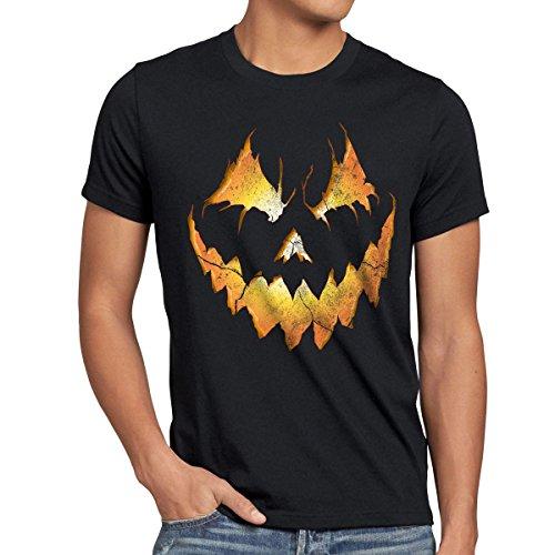 style3 Halloween Kürbiskopf Herren T-Shirt, Größe:XL;Farbe:Schwarz (13. Halloween-streich Freitag, Der)