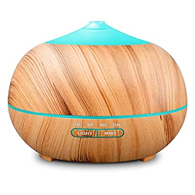 400ml Wood Grain Essential Oil Diffusers Ultrasonic Humidifier Portable Aromatherapy Diffuser with Cool Mist and 7 Colour Changing LED Lights Aroma Diffuser, Waterless Auto off Air Purifiers from Tenswall