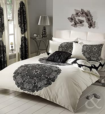 Floral & Striped Poly Cotton Duvet Cover Bed Quilt Cover Bedding Set - inexpensive UK bedding store.