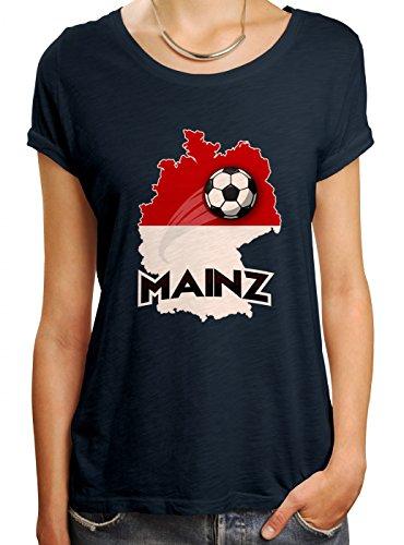 Mainz #2 Premium T-Shirt | Fussball | Fan-Trikot | Die Macht in Deutschland | Frauen | Shirt, Farbe:Dunkelblau (Navy L191);Größe:S (Fußball-trikot Bell)