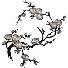 1pcs Apliques De Encaje Ciruelo Del Bordado Flor / Parche Motivos DIY Decoraciones - Negro Plata, 37cm * 14cm