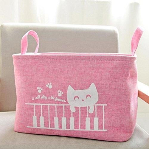 Aufbewahrungskorb, H. Eternal Cute Animal Cat Wasserdicht Aufbewahrungskorb Closet Toys Unterwäsche Bücher klein Produkte Kleinteile Aufbewahrung Box rose (Cat Toy Storage)