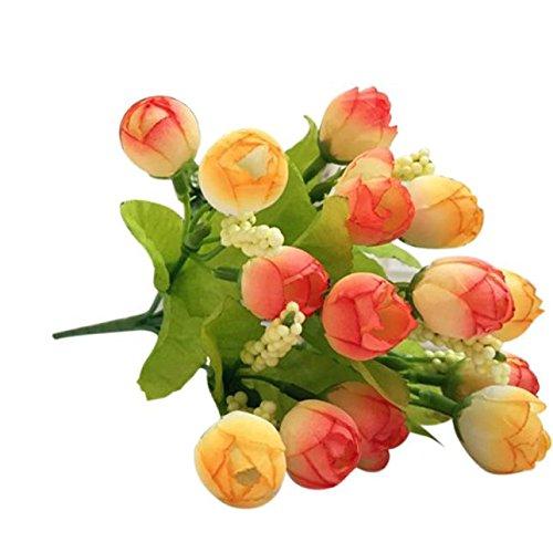 DIKHBJWQ 15 Köpfe künstliche Rose Seide gefälschte Blume Blatt Home Decor Brautstrauß Orange