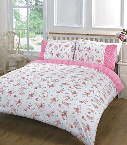 Bettdecke / Tagesdecke, Bestickt, Blumenmuster, Spitze, Amelie, rose, King Size (Spitze Elle)