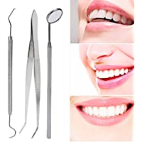 Zahnreinigung set, 3 teile/satz Edelstahl Zahnpflege Kit Mund Spiegel Sonde Zange Pinzette Zähne Saubere Hygiene... preisvergleich bei billige-tabletten.eu