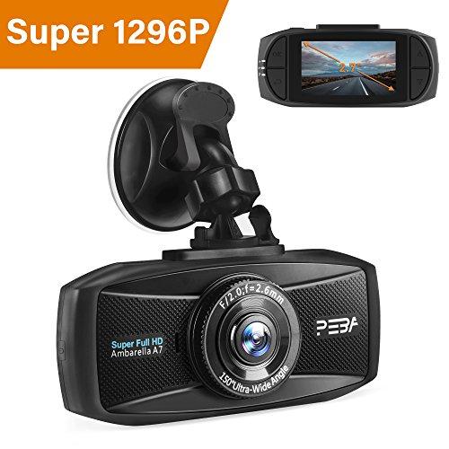 Dashcam Autokamera 1296p mit Nachtsicht PEBA Dash Camera Super HD Auto DVR Camcorder 2.7 Zoll...