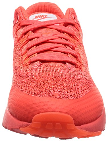 Nike Air Max 1 Ultra Flyknit, Chaussures de Running Entrainement Homme, Orange, 45 EU Rouge (Bright Crimson / White-University Red)