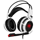 Sentey® Gaming Headset 7.1 Virtual with Vibration Arches Intelligent Vibration Headphones System 4d Experience Bass Headband In-line Control Lightweight Adaptive Comfort Headband Pc Computer H.p Headphone Gaming Headset USB 2.0 Connector Digital Surround Sound with Braided 2 Meters Cable (White) Gs-4731