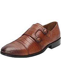 Brune Tan Color 100% Genuine Leather Croco Print Double Monk Strap Shoes For Men