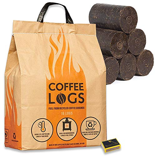 Coffee Logs & Tigerbox Safety Matches. Carbon Neutral Extra Hot Solid Fuel made from Recycled Coffee. 51CHBgRFx7L