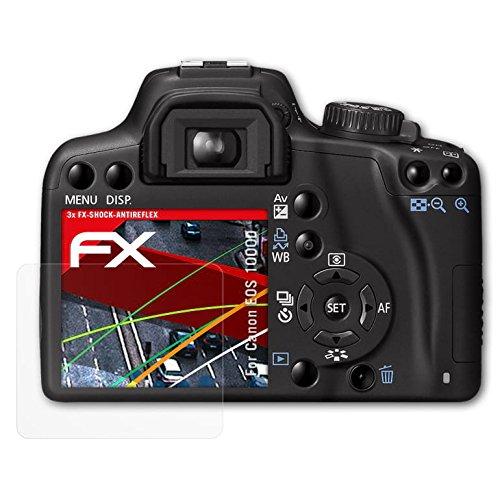 atFoliX Panzerschutzfolie für Canon EOS 1000D/Rebel XS Panzerfolie - 3 x FX-Shock-Antireflex blendfreie stoßabsorbierende Displayschutzfolie (Xs Eos Canon Rebel)