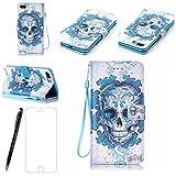 Lotuslnn Coque iPhone 7 Housse,iPhone 7/7G (4.7 Pouce) Etui Cuir Coque +Stylus Stift- crâne bleu