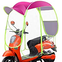 ewby Electric car umbrella canopy Awning Fully Enclosed Rainproof Sunscreen Motorcycle Windshield Rain Transparent Umbrella blue without rain curtain-Rear view mirror