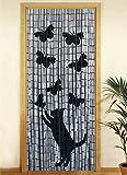 Wenko 5123004500 Bambusvorhang Katze und Schmetterling, Bambus, mehrfarbig