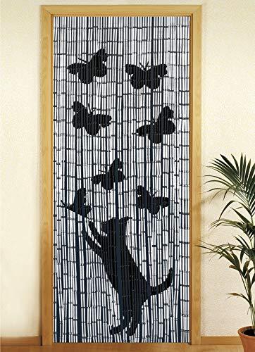 WENKO 5123004500 Bambusvorhang Katze und Schmetterling, Türvorhang, Bambus, 90 x 200 cm, Mehrfarbig - Vorhänge Terrasse Küche
