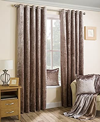 Crushed Velvet Soft Touch New Pair Of Eyelet Curtains With Self Coloured Lining - inexpensive UK light store.