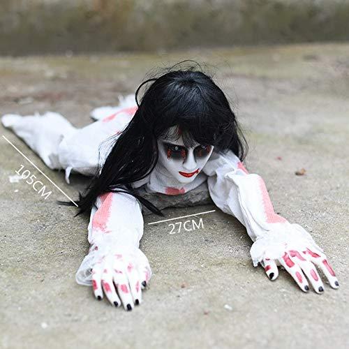Puppe Dämon Kostüm - WSJDE Halloween Elektro Krabbeltiere Knifflige Requisiten Böse leuchtende Puppen Spukhaus Dämon Dekoration Horror Gruselige Angst Baby Ghostweiß