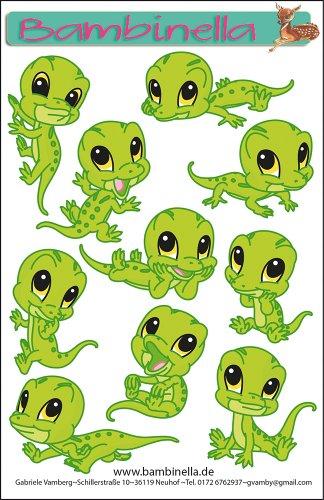 Bambinellas Stickerparade - 10 Sticker - Motiv: Gecko - Made in eigener Werkstatt in Germany