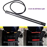 #8: Pivalo 8 Inch 48 LED Bulbs Light Strip Tail Brake Stop Turn Signal License Plate Flexible 3528 SMD Light for Motorcycle Harley Davidson ATV Car SUV (12V)