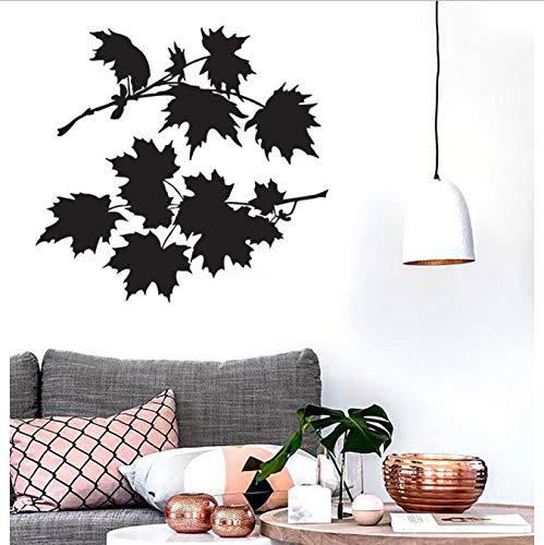 shensc Blätter Ahornbaum Wandaufkleber für Schlafzimmer Bush Schöne Blütenblätter Vinyl Aufkleber Moderne Natur Wohnzimmer Wohnkultur 44x42 cm -