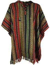 ac21a7fd42d2e2 Guru-Shop Poncho Hippie Chic, Andenponcho, Herren/Damen, Blau, Baumwolle,  Size:One Size, Jacken, Strickjacken,…