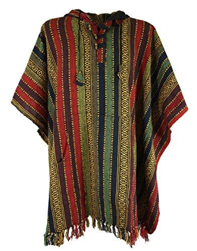 Guru-Shop Poncho Hippie Chic, Ethno Poncho, Andenponcho, Herren/Damen, Bunt, Baumwolle, Size:One Size, Jacken, Strickjacken, Ponchos Alternative Bekleidung