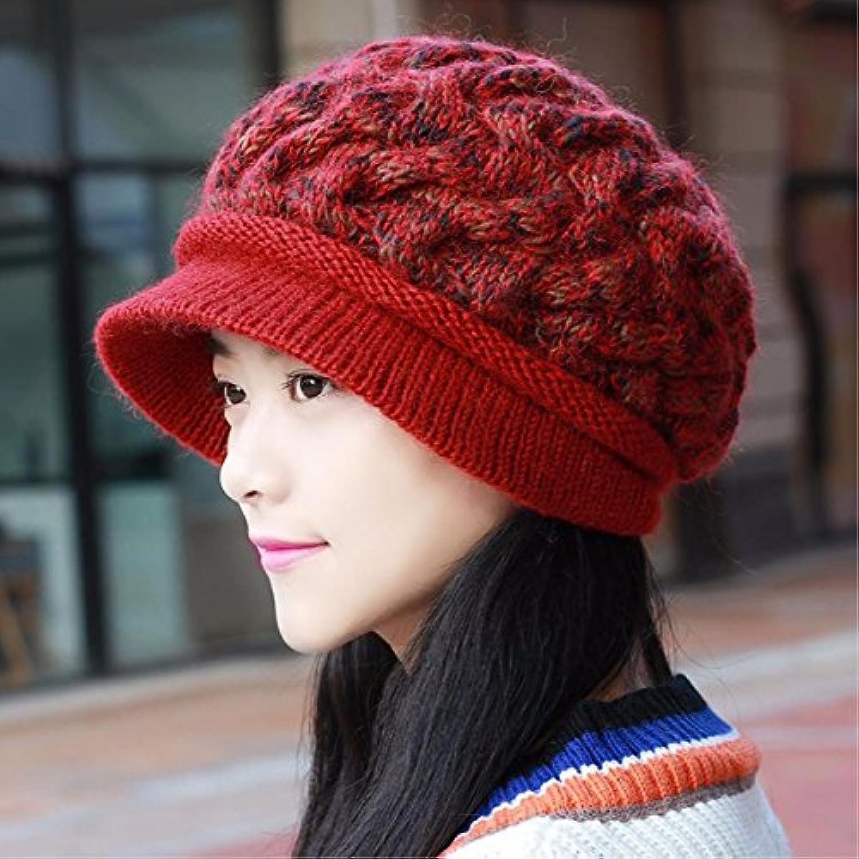 ERLINGSAN-MZ Cappello delle donne autunno e stoffa inverno stoffa e spessa  tappi maglia in inverno tappi cappello femminile... Parent b79538 ee28758546f2